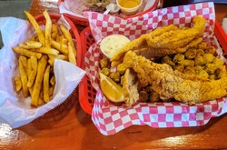 Fried Catfish basket with French fries and fried okra