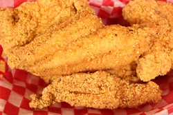 Fried Catfish Fillets in Rural Cafe