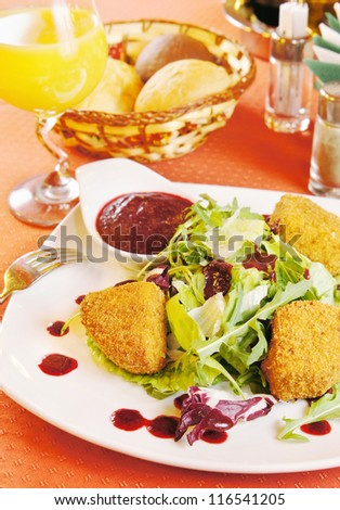 Fried cheese Camembert with cranberry sauce