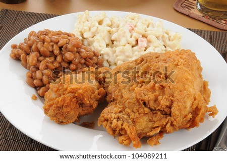 Fried chicken and baked beans closeup