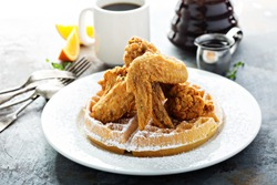 Fried chicken and waffles, southern food concept