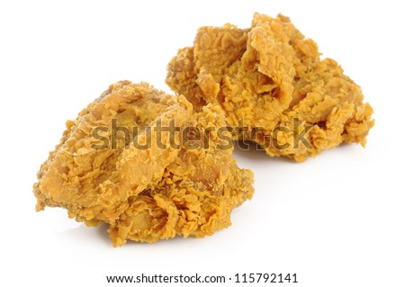 fried chicken breast on white background