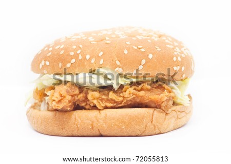 Fried Chicken Burger on white background