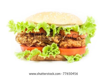 Fried Chicken Burger on white background