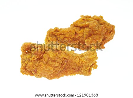 Fried chicken in isolated white