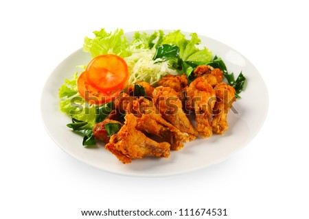 fried chicken in white plate