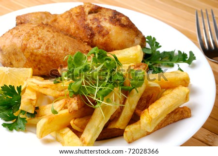 Fried chicken legs and potato