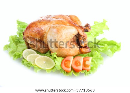 Fried chicken on a white background