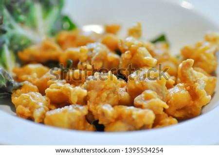 fried chicken or deep fried chicken ,fried chicken ligament