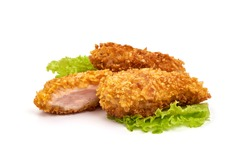 Fried Chicken strips in breadcrumbs, isolated on white background.