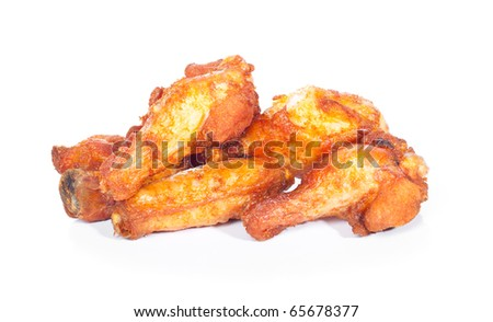fried chicken wings isolated on white