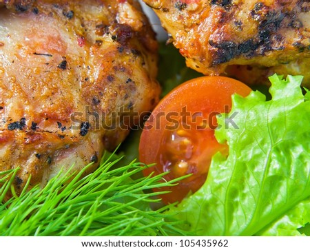 Fried chicken with fresh fennel and salad.