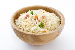 Fried chinese rice with vegetables isolated on white background