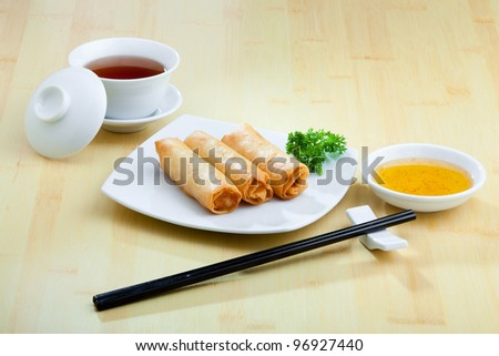 Fried Chinese Traditional Spring rolls food - stock photo