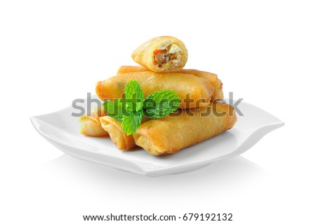 Fried Chinese Traditional Spring rolls food in ceramic plate (beautiful shape) on white background