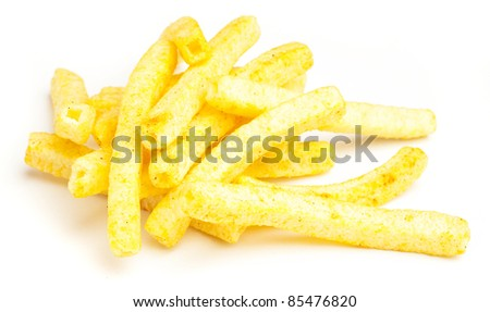 fried chips isolated on a white background