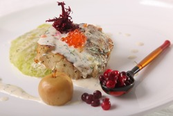 Fried cod with caviar in Russian style