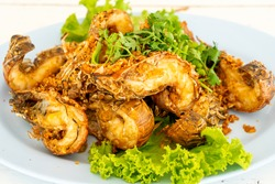 fried crayfish or mantis shrimps with garlic - seafood style