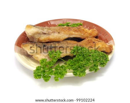 fried crucian carp on a white background