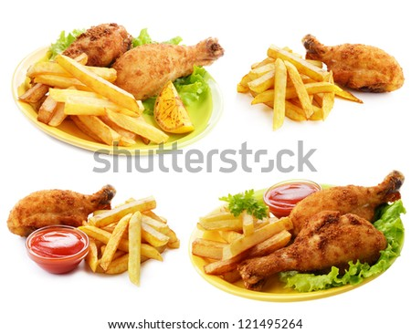 Fried drumsticks with ketchup and french fries set isolated over white