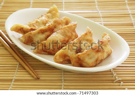 Fried Dumplings Chinese Style Cuisine as Meal