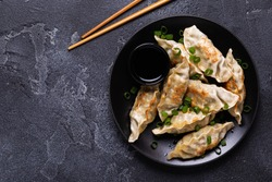 Fried dumplings Gyoza on a plate on a gray concrete background, top view