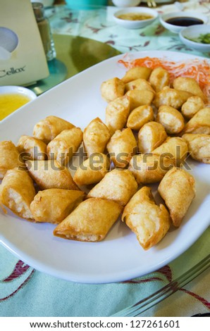 Fried dumplings served on white plate, Chinese style food