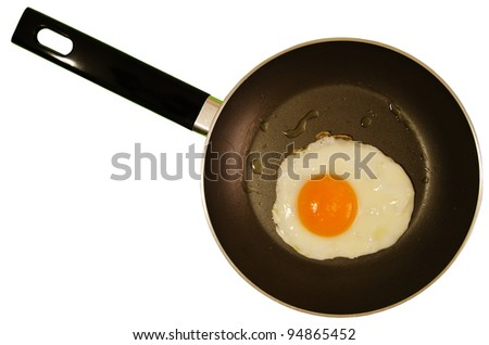 Fried egg and frying pan isolated - clipping path included
