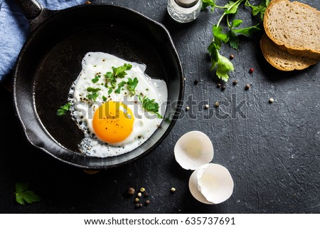 Fried egg. Close up view of the fried egg on a frying pan. Salted and spiced fried egg with parsley on cast iron pan and black background. Stock foto ©