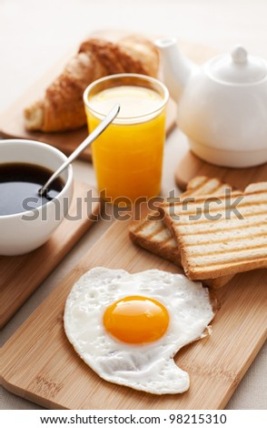 Fried egg for breakfast close up shoot