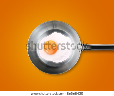 Fried egg in a frying pan on orange background