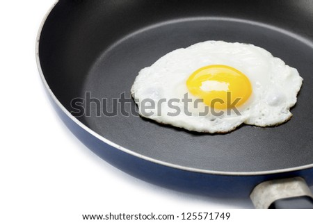 Fried egg in a pan displayed on white background.