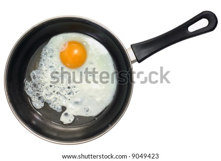 Fried egg in frying pan and isolated white background