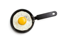 Fried  egg on small pan isolated on white