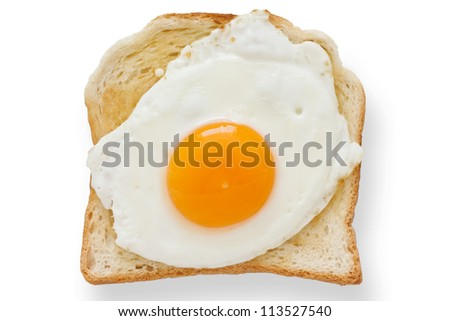 Fried egg on white toast from above.