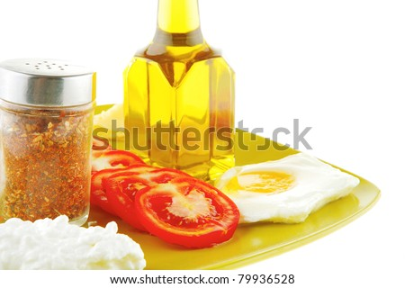 fried eggs and olive oil on yellow plate