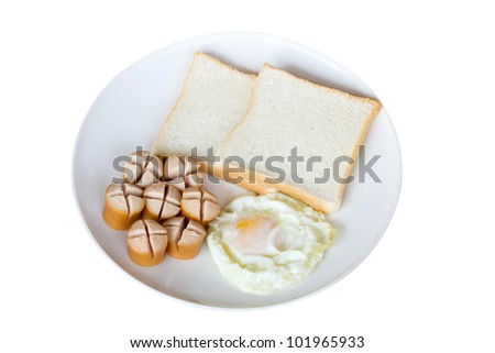 Fried Eggs, Breads and Sausages on isolated