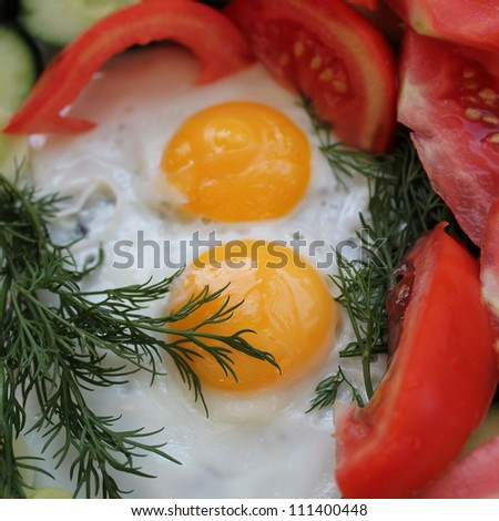 fried eggs fried eggs with vegetables and greens