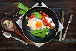 Fried Eggs Frying Pan Tomatoes Cheese Cucumber Greens Leaves  Sunflower Seeds Healthy Protein Vegetables Breakfast Top View Vintage Style