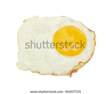 Fried eggs, isolated on a white background