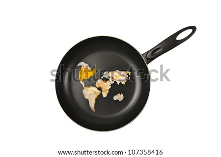 fried eggs on a frying pan in the form of continents. White background.