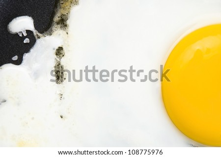 Fried eggs on on a pan