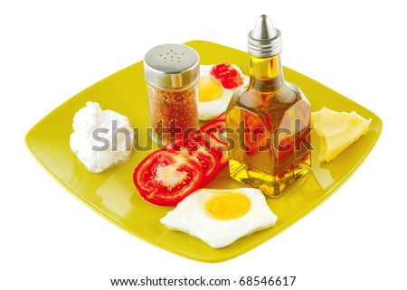 fried eggs with olive oil and tomatoes on plate