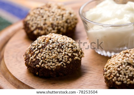 Fried falafel covered with sesame