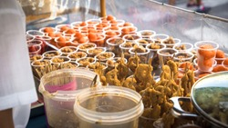 Fried Filipino Street Foods at Stall in Tabaco, Albay - Philippines