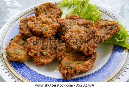 fried fish ball on plate - snack thai food