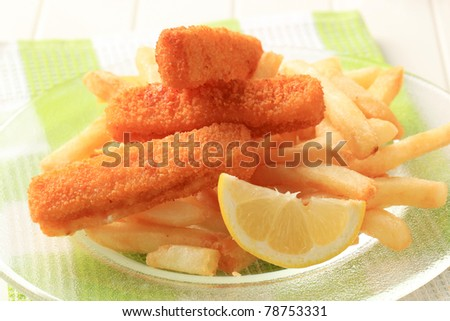Fried fish sticks and French fries