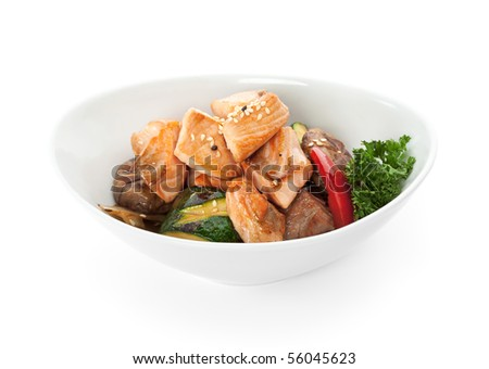 Fried Fish with Cabbage, Mushrooms and Paprika