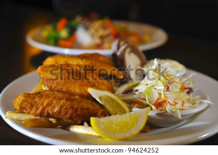 Fried Fish with coleslaw bread and tartar sauce