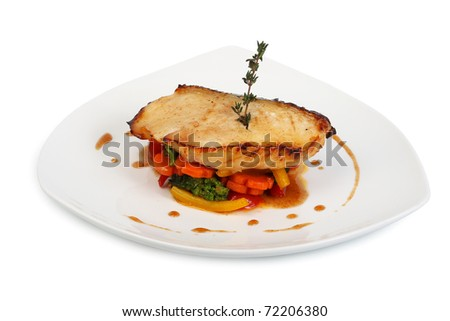 fried fish with sauce and vegetables
